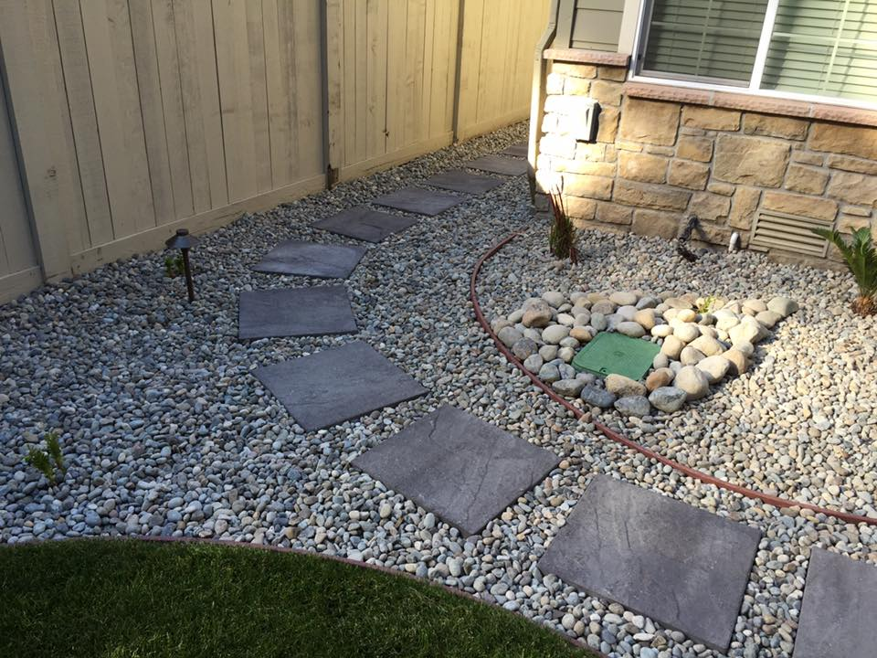Gravel and pavers