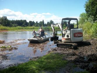Excavating pond