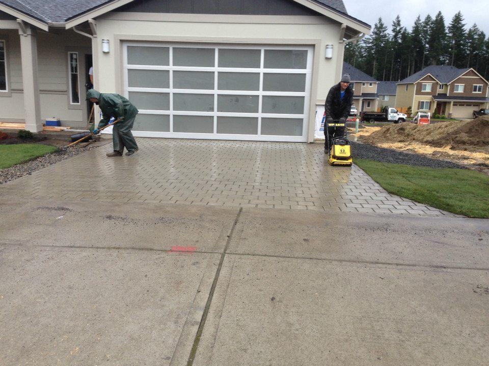 Concrete and paver driveway
